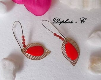 ♥•♥ Nadège ♥•♥ EARRINGS SLEEPERS flowers FILIGRANEES and Red enamel drop charm