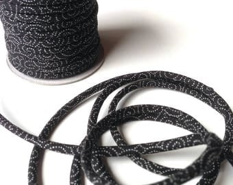 cords 3mm cotton Japanese, traditional, black pattern (C3503-3)