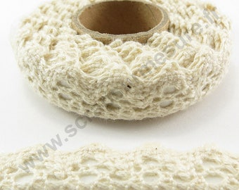 Fabric adhesive tape - ivory lace trim - 17mm x 2.5 m