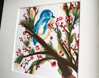 Bird watercolour painting in black frame