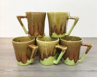 Green & Brown Glaze Vintage Mug Set of 9