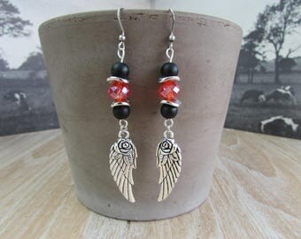 """Earrings """"Angel feathers"""" red and black"""