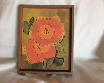 Vintage Mid Century 1966 Colorful Original Art Painting Flowers