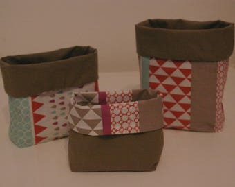 Set of 3 reversible baskets in hand-sewn fabric