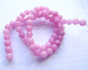 63 smooth round beads of agate dyed pink 6 mm KOSI 601