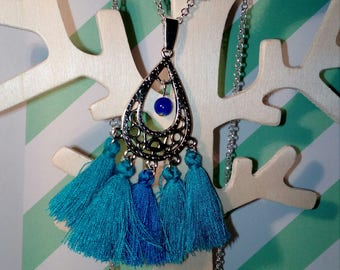 Bohemian necklace silver and blue tassel