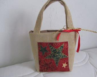 "Small basket in Burlap ""spirit of Christmas"""