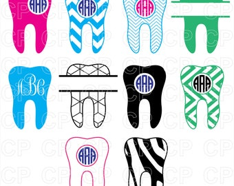 Dentist Tooth SVG Cut Files, Tooth Clipart, Tooth Monogram Frames Cut Files for Cricut, Silhouette Studio_Digital Download