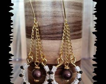 Earrings braiding macrame white entirely handmade and black beads