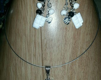 Complete chocolate set necklace and earrings