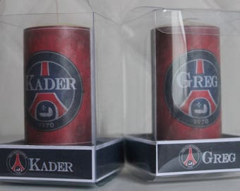2 candles PSG custom to offer with personal message