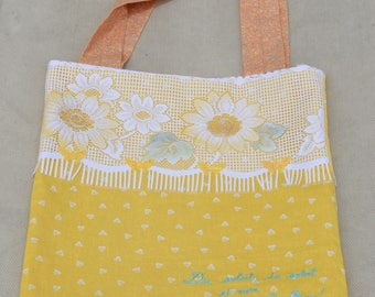 Tote bag made by hand in yellow tones