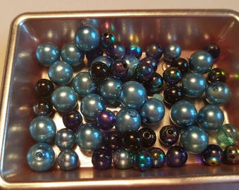 Blue round beads mix of different sizes