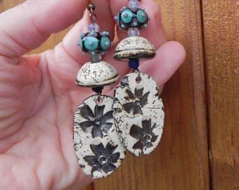 Beautiful handcrafted earrings with ceramic and glass