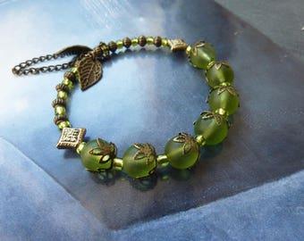 Retro Bohemian bracelet brushed glass and bronze metal beads