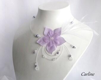 Nude crystal feathers - transparent violet flowers silk Swarovski Crystal bridal necklace