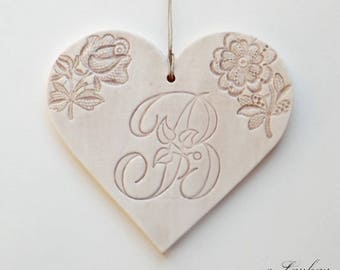 Large earthenware and lace impressions heart hanging, brown beige color, letter 'B'