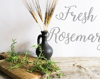 Styled Stock Photography | Rosemary on Rustic Wood