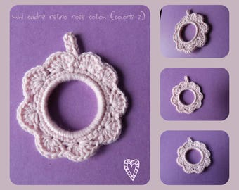 Mini frame retro pink cotton hand knitted crochet