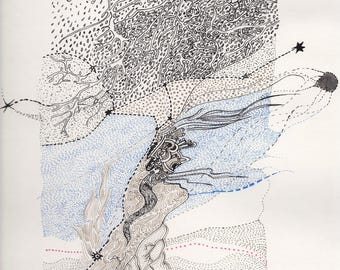 "Orange ink on paper - ""Constellations - tree"" illustration"
