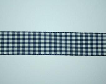 Ribbon gingham blue 2.5 cm x 1 meter