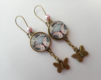 "Earrings glass cabochon vintage ""dreamy"" black, white, pink, polka dots, butterflies, charms, bronze"