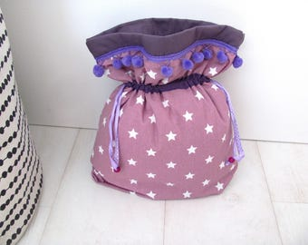 Padded pouch in purple fabric white stars