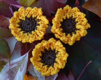 crochet cotton 3 sunflowers