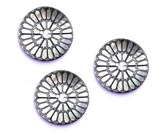 Lot 3 button 34 mm Silver Flower engraved mother of Pearl large button