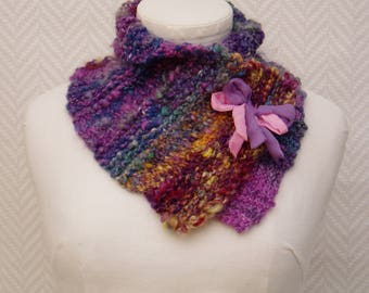 Scarf collar blue yellow purple pink hand knitted silk and wool