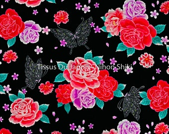 2 Japanese fabric meters - flower fabric - fabric Butterfly - Butterfly pattern fabric - Japanese fabric flowers - black floral fabric 200x106cm MY21