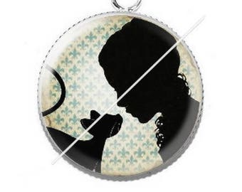 Pendant cabochons 25mm lady and her cat 15