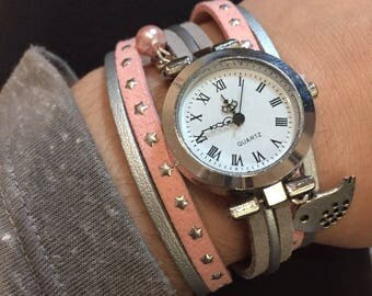 Pink and grey cuff watch