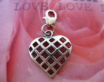 charm heart cage silver Tibetan heart lobster clasp charm