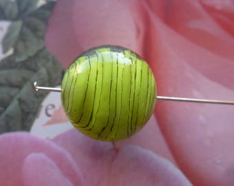 Pearl round Murano glass green and stripes grey 18 mm for jewelry, crafts, handicrafts, embllissement creation