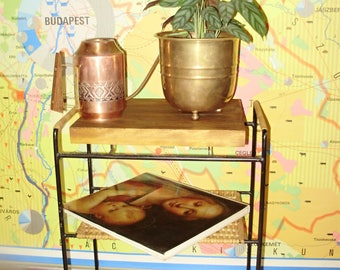 Vintage Wood,iron and wicker  coffee table, side /plant table, plant stand, Mid-Century table,furniture