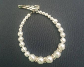 Jane Pearl Bracelet with Straight Crystal Spacers