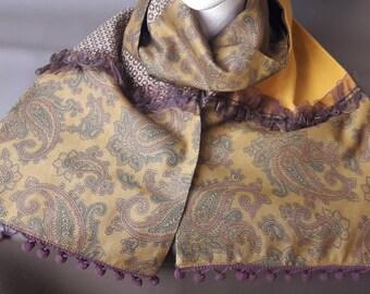 mustard scarf and Pom Pom