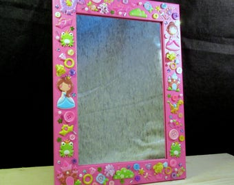 Princesses kids decorated wooden mirror