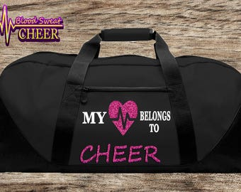 My heart belongs to CHEER duffel bag
