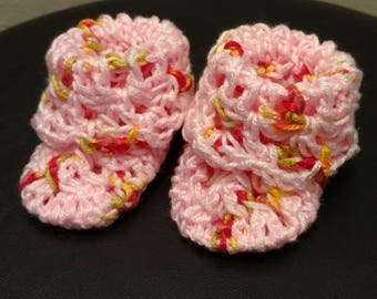 Pink multi-color baby booties