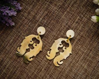 Natural Buffalo Horn Earrings TA 25022