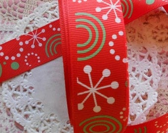 Christmas Ribbon grosgrain Ribbon red polyester patterned snow 2.40 cm width