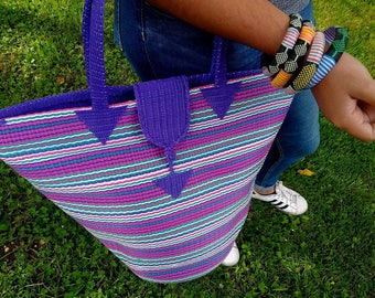 Tote bag braided Senegalese - purple, pink, green - SENSAC14