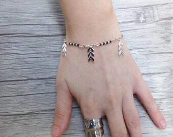 Bracelet Pearl beaded silver cobs miyuki, boho bracelet, delicate bracelet, trendy bracelet, chic, Bohemian, Valentine's day