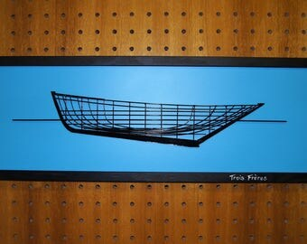 """picture Navy Sinagot """"three brothers"""" black framed 20 x 60"""
