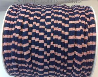 Ball of Trapilho cotton striped Navy lycra pink