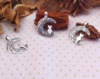 5 pendants Crescent Moon and cat, thin and lightweight, silver