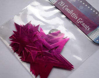 Confetti stars pink fuchsia in packs of 20 - large size