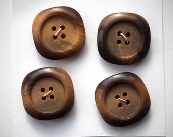 4 large buttons 25mm your light and dark brown, acrylic, jacket or coat